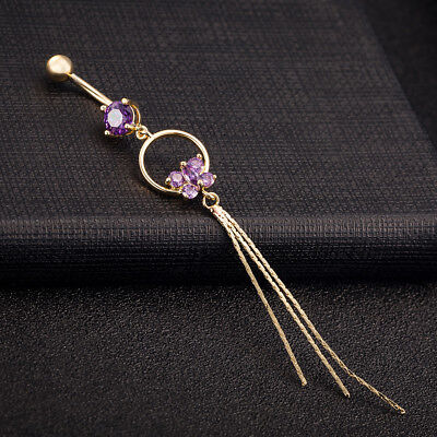 - Dangle Long Tassel Belly Ring Crystal Butterfly Navel Body Piercing Gold Plated