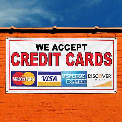 Vinyl Banner Sign We Accept Credit Cards Restaurant Cafe Bar Business Cards Red