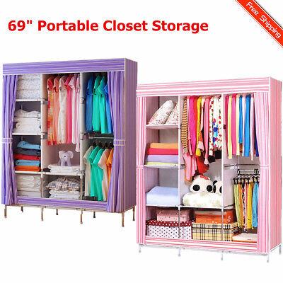 "69"" Portable Closet Storage Organizer Clothes Wardrobe Shoe Rack with Shelves ER"