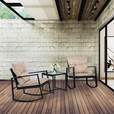 Patio Bistro Set 3 PCS Outdoor Rocking Chair Rattan Conversation Sets - Outdoor Bistro Chairs