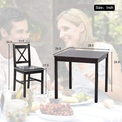 Dining Kitchen Table Dining Set 3 Piece Wood  Table  Chair for 2 Person, Brown Dining Sets