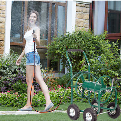 Heavy Duty Garden Water Hose Reel Cart Outdoor Yard Planting W/ Basket 50 Home & Garden