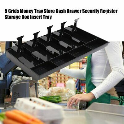 5 Grids Money Tray Store Cash Drawer Security Register Storage Box Insert Tray
