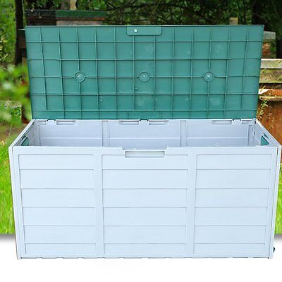 Ultra Large Outdoor Garden Plastic Storage Utility Chest Cushion Shed Box 290L S