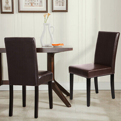 Set of 4 Brown Leather Contemporary Elegant Design Dining Chairs Home Room 2XU42 Chairs
