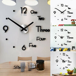 HOT! 3D Large Wall Clock Frameless Mirror Number Sticker Modern Art Decal Decor
