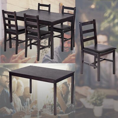 5PCS Dining Table Set Pine Wood Kitchen Dinette Table with 4 Chairs DS-47 Dining Sets