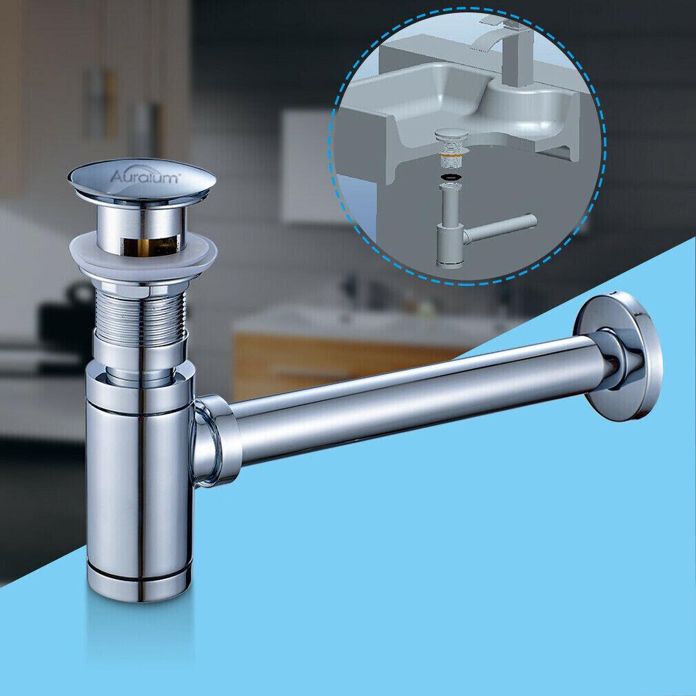 Ablaufgarnitur Sifon Siphon Pop Up Push Abfluss Waschtisch Stöpsel Duschtasse