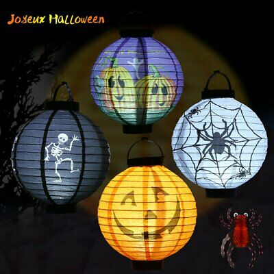 4x Halloween Decorations Paper Lanterns With LED Light Different Style For Party