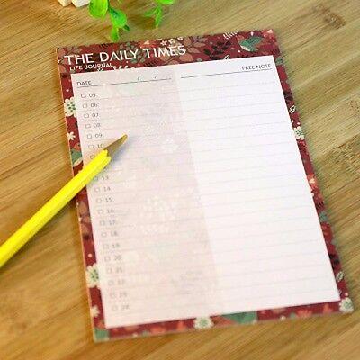 Flower Bird Daily Times Plan Journal Schedule Planner Note Paper Organizer #B