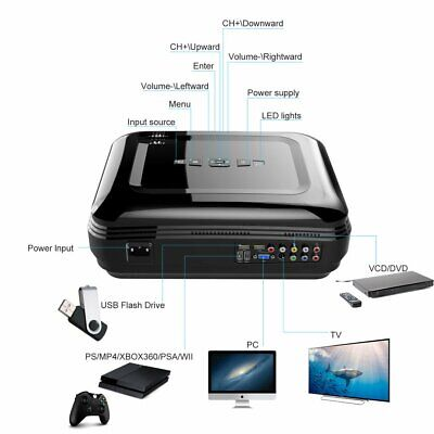 LESHP LCD Projector High Resolution 7000 LM Home Cinema for Laptop Portable