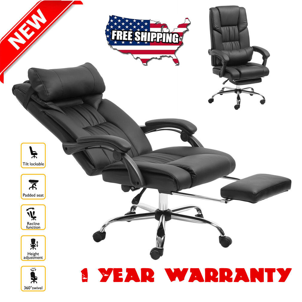 b6daad11611c Executive Reclining Office Chair High Back Leather Footrest Armchair