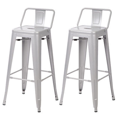 30'' Metal Frame Tolix Style Bar Stools Industrial Chair with Back,Set of