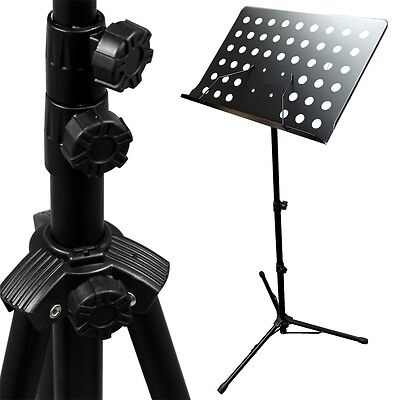 Black Music Conductor Stand Adjustable Metal Sheet Tripod Holder Folding Stage
