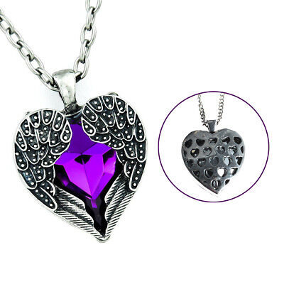 Purple Gothic Stone Heart Necklace Angel Wings Pendant Cosplay Alternative -