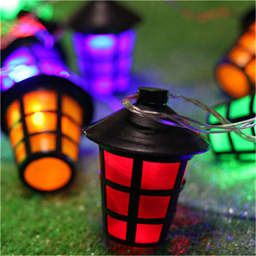 20 led coloured lantern garden lights festive outdoor string