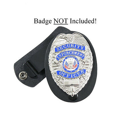 Leather Security Guard Loss Prevention Police Detective Badge Shield Belt Holder
