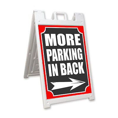 More Parking In Back Arrow Right Signicade A-frame Sidewalk Sandwich Street Sign