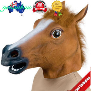 Horse Head Mask Latex Animal Costume Prop Gangnam Style Toys Party Halloween DS