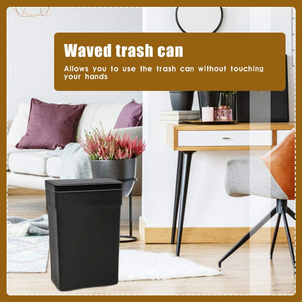 13 Gallon Trash Can Touch Free Automatic Plastic High-Capacity Garbage Can,Black General Household Supplies