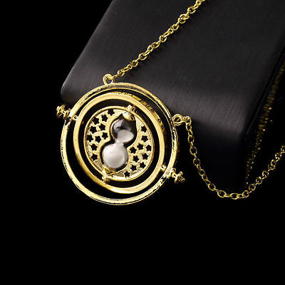 Harry Potter Hermione Granger Rotating Time Turner Necklace Gold Hourglass MY
