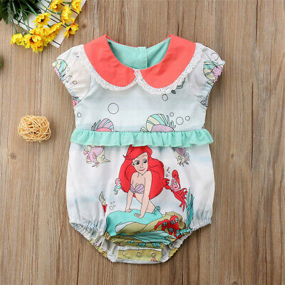 NEW Disney Princess Ariel Little Mermaid Baby Girls Ruffle Romper Sunsuit