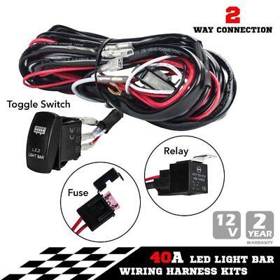 2 Way Wiring Loom Harness Light Bar Push button Switch Kits 12V 40A Relay J UK