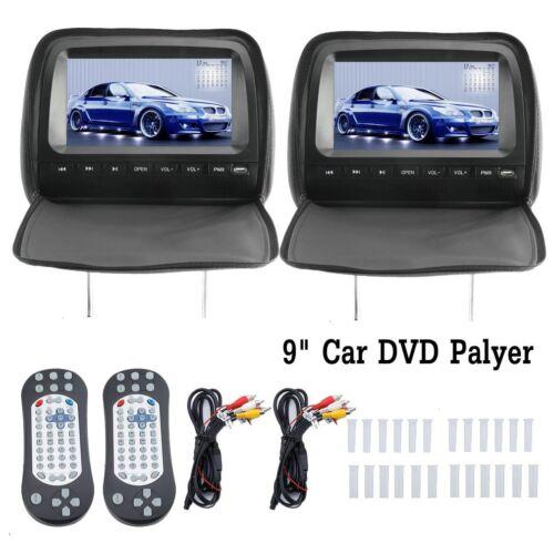 """NEW 9"""" Car Headrest Monitors DVD Player/USB/HDMI FM Speakers"""