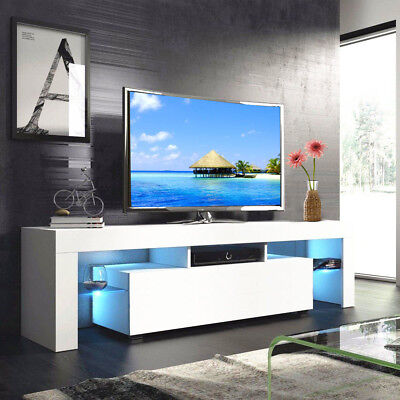 High Gloss White 63'' TV Stand Unit Cabinet with LED Light 2 Drawers Console RC - Living Room Rectangular Cabinet