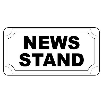 News Stand Black Retro Vintage Style Metal Sign   8 In X 12 In With Holes