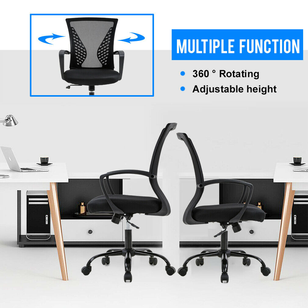 Mesh Office Chair  with Lumbar Support Armrest Mid Back Rolling Swivel,Set of 2 Chairs