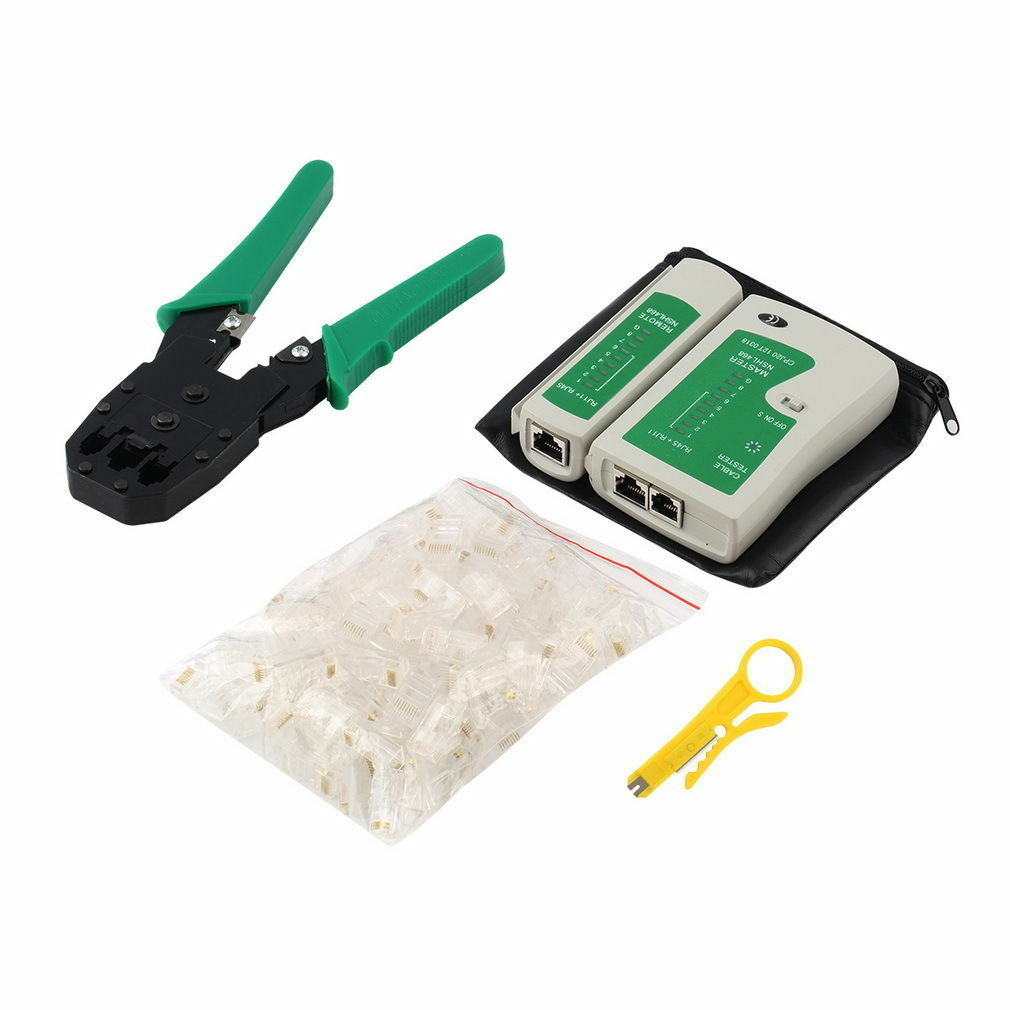 New 4in1 RJ45 RJ11 CAT5 NETWORK TOOL KIT CABLE TESTER CRIMPER LAN WIRE STRIPPER Cabling Tools
