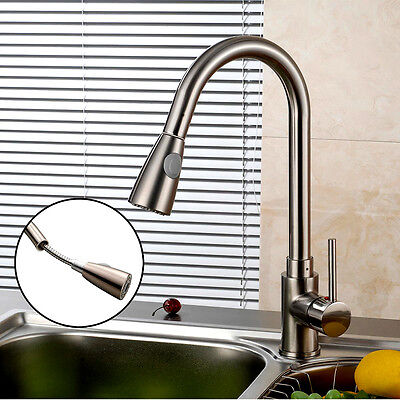 "USA 16"" Kitchen Sink Faucet Chrome Pull-Out Spray Swivel Spout Dispenser"