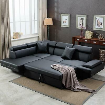 Contemporary Sectional Modern Sofa Bed - Black with Functional Armrest / Back...