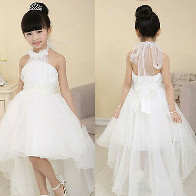 Girls White Flower Bridesmaid Wedding Pearl Dress Kids Dresse 213