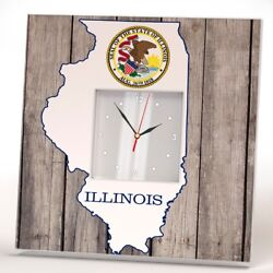 Illinois State Wall Clock Mirror Decor Art Wood Image Printed Home Gift Design