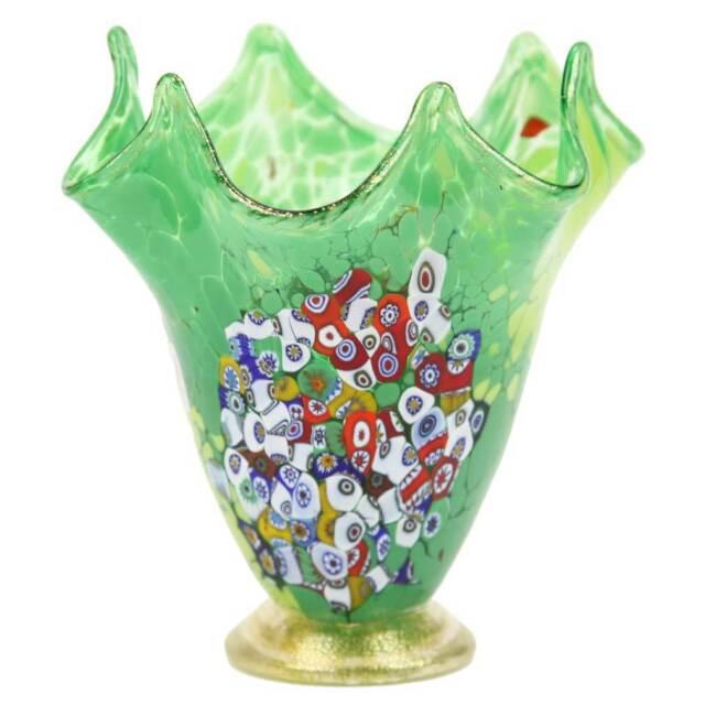 Glassofvenice Murano Glass Millefiori Fazzoletto Vase Lime Green