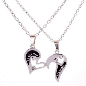 Silver Tone Couple Heart Love Girlfriend Boyfriend Pendant Necklace & Chain Gift