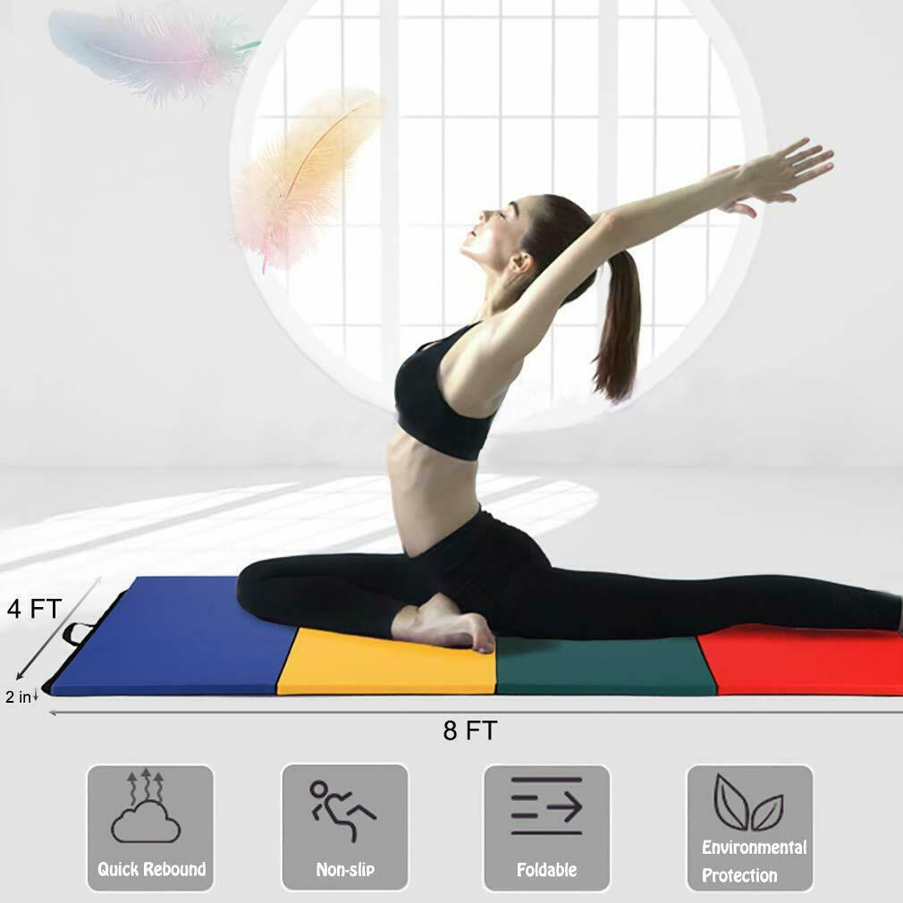 All color 4'x8'x2″Thick Folding Panel Gymnastics Mat Gym Fitness Exercise Mat R4 Exercise Mats