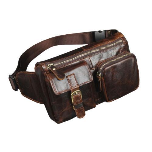 Men Leather  Fanny Pack Waist Bag Travel Messenger Shoulder