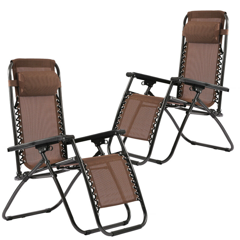New Zero Gravity Chairs Case Of 2 Lounge Patio Chairs Outdoor Yard Beach O62 Home & Garden