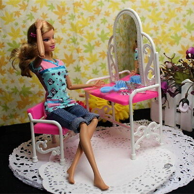 Lovely Dressing Table Chair Set for Barbies Dolls Dollhouse Bedroom Furniture CG