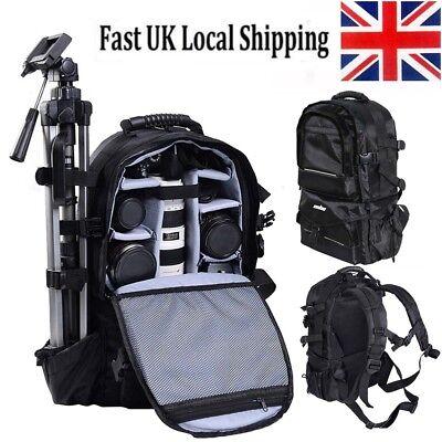 Large DSLR SLR Camera Backpack Rucksack Bag Case+RainCover For Nikon Sony Canon