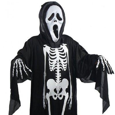 Kinder Schädel Geist Cosplay Kostüm Halloween Kostüm + Screaming Mask+Handschuhe Schädel Kind Maske