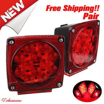 Pair Truck Boat Trailer Stop Brake Light Side Marker LED Tail Square TO