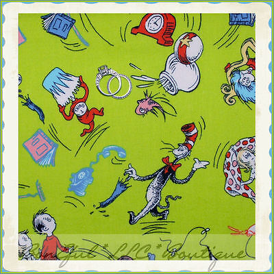 BonEful FABRIC FQ Cotton Quilt VTG Green Dr Seuss Cat in the Hat
