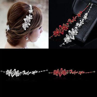 Tiara Diadem GOLD Blumen Perlen ROT Haarschmuck Kopfschmuck Braut Straß Hochzeit