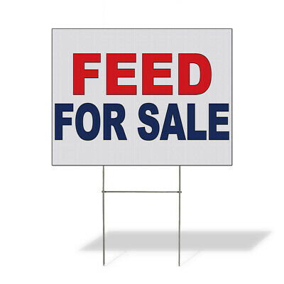 Weatherproof Yard Sign Feed For Sale Red Blue Lawn Garden Store