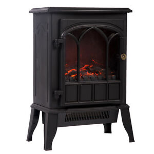 New 750W/1500W Standing Electric Fireplace Heater Log Flame Stove Portable FP22