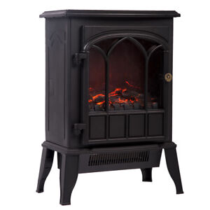 750W/1500W Standing Electric Fireplace Heater Log Flame Stove Portable FP22